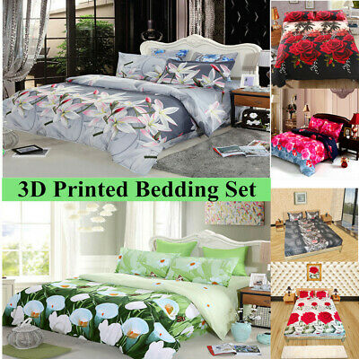 4x 3D Printed Bedding Set Queen King Fitted Sheet Bed Cover Pillowcases Hot E7W7