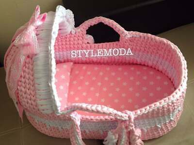 Powder Pink Baby Moses Basket , Baby Bassinet, Crocheted Moses Basket ,Cribs wit