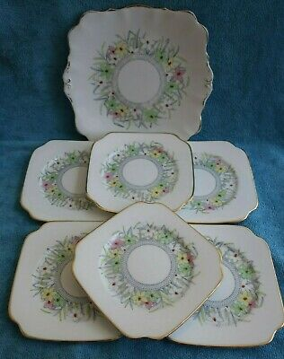 7 pc vintage 1930s BELL CHINA Tea Party CAKE PLATE & individual 6 PLATE set