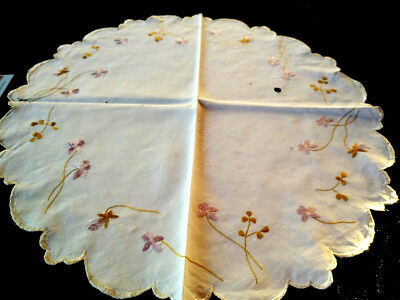 Antique c1910~SOCIETY SILK~Delicate Violets ~Hand Embroidered Centrepiece~17-18""