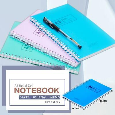 A5 Spiral Coil Notebook Ruled Diary Journal Stationary Note Book Memo + 1 Pen
