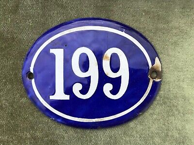 Genuine Vintage FRENCH ENAMEL HOUSE NUMBER 199 -Gate -Building -Oval -Convex