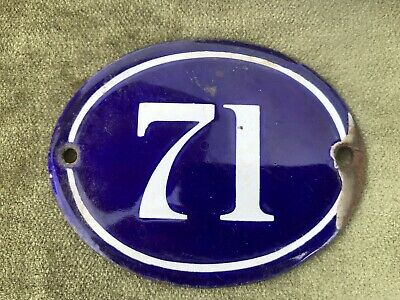Genuine Vintage FRENCH ENAMEL HOUSE NUMBER 71 -Gate -Building -Oval -Convex