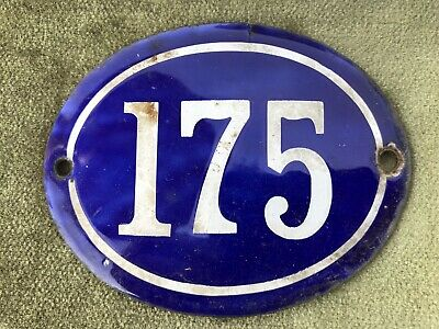Genuine Vintage FRENCH ENAMEL HOUSE NUMBER 175-Gate -Building -Oval -Convex