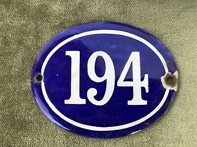 Genuine Vintage FRENCH ENAMEL HOUSE NUMBER 194-Gate -Building -Oval -Convex