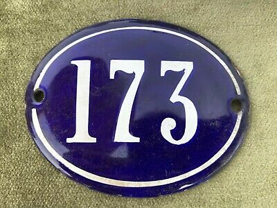 Genuine Vintage FRENCH ENAMEL HOUSE NUMBER 173-Gate -Building -Oval -Convex