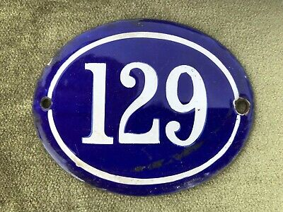 Genuine Vintage FRENCH ENAMEL HOUSE NUMBER 129-Gate -Building -Oval -Convex