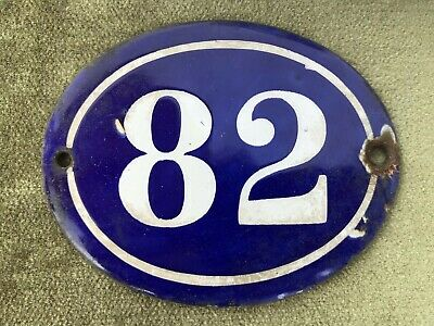 Genuine Vintage FRENCH ENAMEL HOUSE NUMBER 82-Gate -Building -Oval -Convex