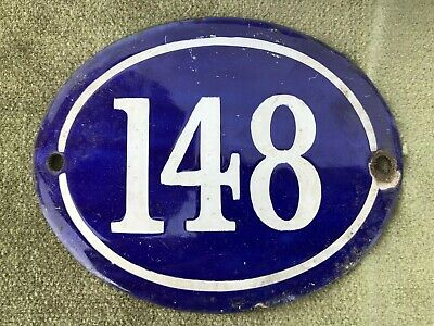 Genuine Vintage FRENCH ENAMEL HOUSE NUMBER 148-Gate -Building -Oval -Convex