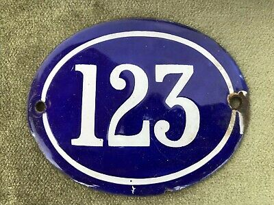 Genuine Vintage FRENCH ENAMEL HOUSE NUMBER 123-Gate -Building -Oval -Convex