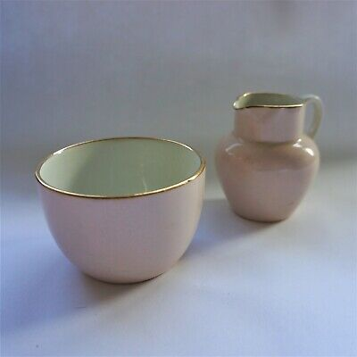 Carlton Ware Creamer & Sugar Pot - c.1894-1926 - Pink & Gold Excellent Condition