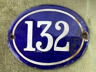 Genuine Vintage FRENCH ENAMEL HOUSE NUMBER 132-Gate -Building -Oval -Convex