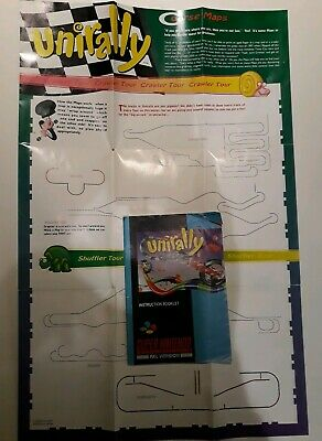 Unirally SNES Instruction Booklet (manual) And Map only Pal UKV