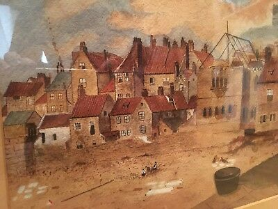 OLD MASTER WHITBY BAY EARLY 19th CENTURY CONSTRUCTION OF SEASIDE TOWN GOLD FRA