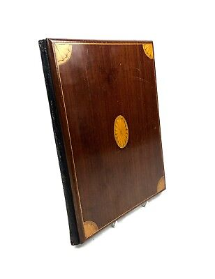 Edwardian Wooden Blotter Cover - Mahogany / Inlaid Design / Antique