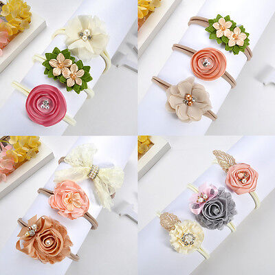 3Pcs/lot Newborn Girl Baby Headband Ribbon Elastic Headdress Kids Hair Band Bow