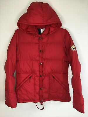 Polo Jeans Co Ralph Lauren Vintage Hooded Puffer Jacket Zippered Pocket Red Coat