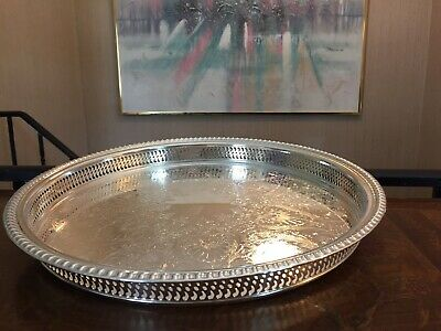 """15"""" vintage Wm Rogers silver plated round cocktail tray Floral Pattern"""