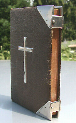 Antique c1860 leather Bible Common Prayer CLASPS & CORNERS