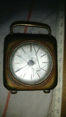 antique travel alarm clock, brass, XIXc, works, needs attention and restoration