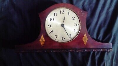 Antique mantel clock, hand-wind, wooden case