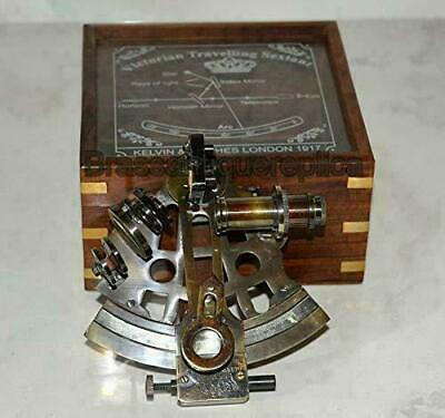 Vintage Brass Sextant Maritime Nautical Collectible Astrolabe Glasstop Wood Box