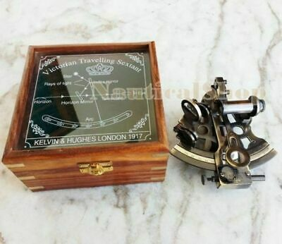 Brass Sextant Vintage Maritime Nautical Collectible Astrolabe Glasstop Wood Box
