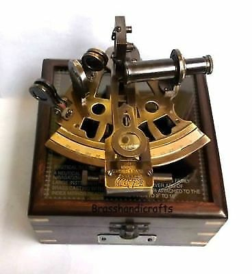 Antique Reproduction Vintage Brass Nautical Sextant With Beautiful Wooden Box