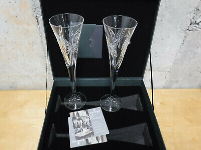 New Waterford Crystal WISHES Happy Anniversary Champagne Toasting Flutes PAIR
