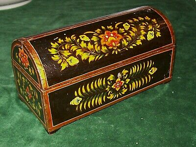 Pretty Vintage, Hand Painted Wood Box, Domed Lid  Jewelry Trinket Casket Rustic