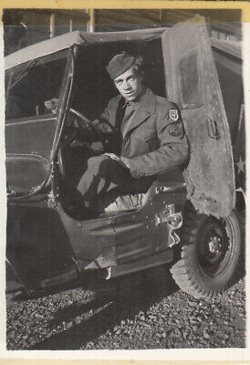Original WWII Snapshot Photo GI Wearing 97th DIVISION PATCH in US Army JEEP 21