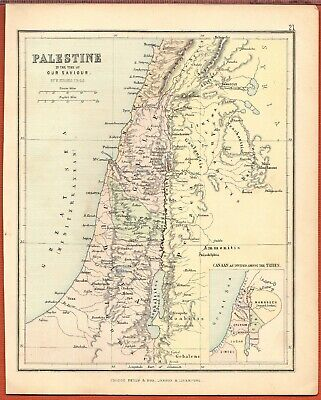 Antique MAP ~ PALESTINE In the Time of Our Saviour ~ GEORGE PHILIP c1880