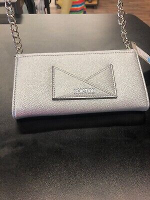 KENNETH COLE REACTION LIZA CLUTCH// PURSE SILVER NWT $50 Retail