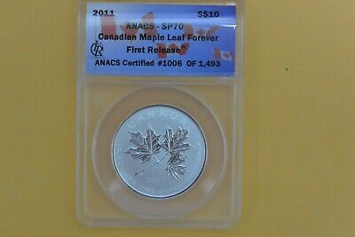 2011 Canada $10 Silver Maple Leaf Forever First Release ANACS SP 70