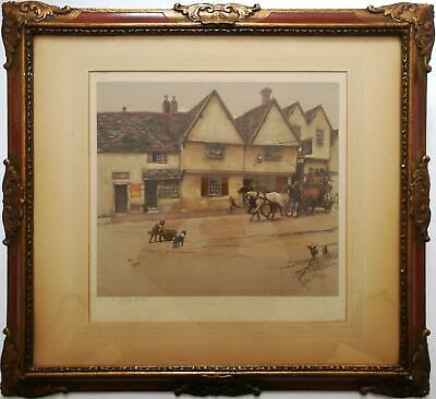 Cecil Aldin Pencil Signed Original Antique Print, The George Inn, Dorchester.