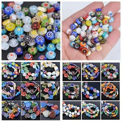 10/20/50pcs Mixed Millefiori Lampwork Glass Loose Spacer Beads Charms Findings