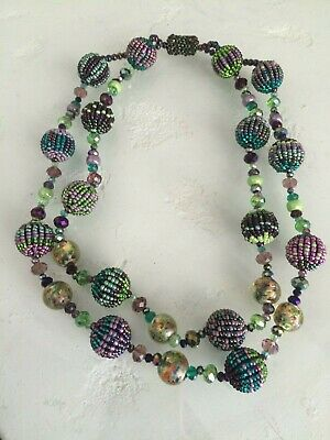 Czech Glass Bead Fiesta NECKLACE Strand PEACOCK COLORS Guatemala