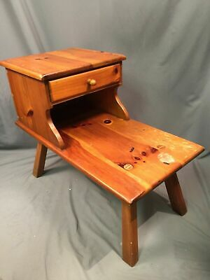 William Fetner Vintage Pine Wood Step Up Table With Drawer Made In USA