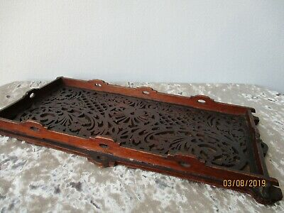 Antique Oriental Carved Wooden Gallery Tray Pierced Display Stand Chinese Asian