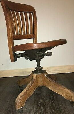 Antique Sikes swivel desk chair Very intricate Philadelphia brass tag 1904-1916