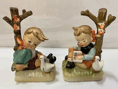 Rare Boy And Girl Set Bookends China Glass Collectible Antique Broken Tree