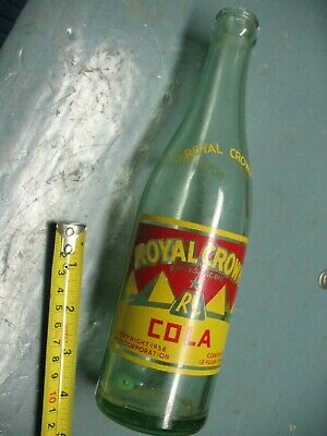 ROYAL  CROWN COLA  AQUA BOTTLE 1956 NEHI CORP. 12 oz. DURAGLAS   ROCHESTER  N Y