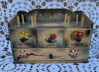 Antique Vintage Wooden Sewing Notion Box Cabinet Drawer Buttons Scissors 1950s