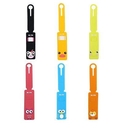 Evilandat Silicone Cute Animal Luggage Tag Loops Holders Label ID Personalized