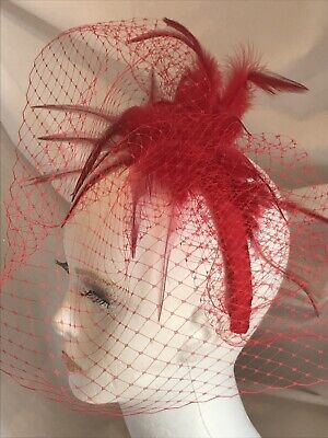 Red Facinator. Felt, Net And Feather. Bespoke Hand Made.