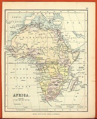 Antique MAP ~ AFRICA AFRICAN ~ GEORGE PHILIP c1880 Vintage