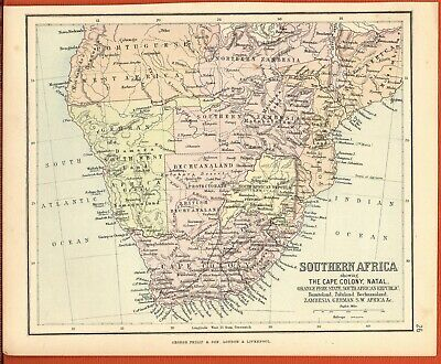 Antique MAP ~ SOUTHERN AFRICA Cape Colony Natal ~ GEORGE PHILIP c1880 Vintage