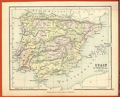 Antique MAP ~ SPAIN & PORTUGAL Europe ~ GEORGE PHILIP c1880 Vintage