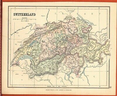 Antique MAP ~ SWITZERLAND in EUROPE ~ GEORGE PHILIP c1880 Vintage