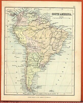 Antique MAP ~ SOUTH AMERICA South American ~ GEORGE PHILIP c1880 Vintage